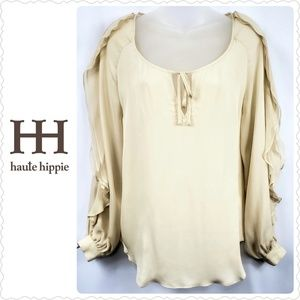 Haute Hippie Silk Ruffle Sleeve Blouse Size Medium